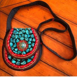 NEW Boho Turquoise/Coral Beads & Fabric Crossbody